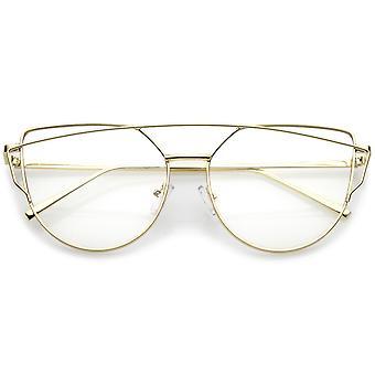 العارضة إطار معدني سليم حديثة واضحة عدسة مسطحة الطيار النظارات 55 مم