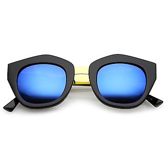 Women's Metal Bridge Colored Mirror Lens Square Cat Eye Sunglasses 46mm