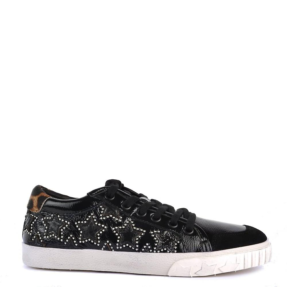 Ash Footwear Majestic Bis Black And Leopard Print Star Trainer Ufqmz