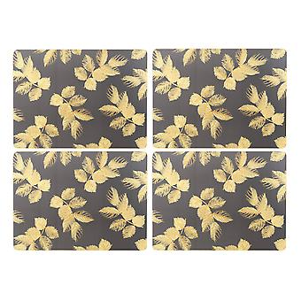 Sara Miller Etched Leaves Dark Grey Placemats, Set of 4