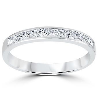 3/8ct الأميرة قطع الماس خاتم الذكرى الزفاف 14K الذهب الأبيض