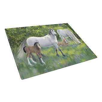 Carolines Treasures  ASA2195LCB Group of Horses Glass Cutting Board Large