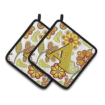 Carolines Treasures  CJ2003-PTHD-Parent Letter Floral Mustard and Green Pair of