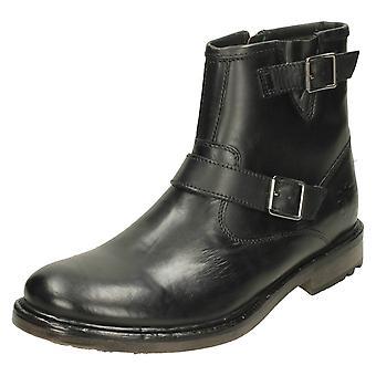 Mens Base Londen gesp Detail enkel laarzen zink - wasachtige zwart leder - UK Size 6 - EU maat 40 - US maat 7