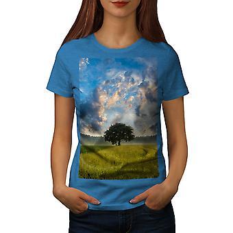 Tree Field Wild Nature Women Royal BlueT-shirt | Wellcoda