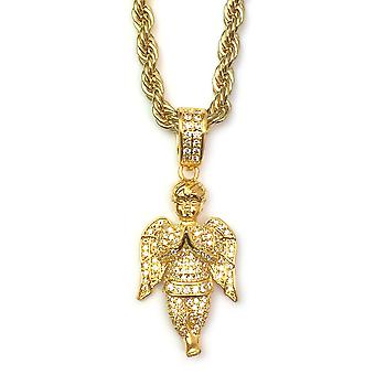 18k Gold Plated CZ Angel Piece Pendant with 4mm Rope Chain 24 Inches Long