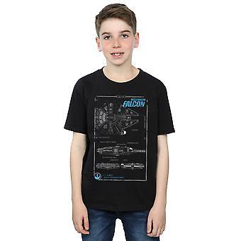 Star Wars Boys Force Awakens Millennium Falcon manuaalinen T-paita