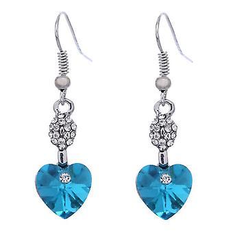 Heart Shaped Dangle Blue Earrings