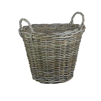 Small Round Grey Rattan Log Basket