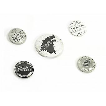 Game Of Thrones Unisex Badge sæt, pakke med 5