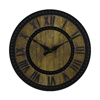 Rustic Faux Wood Finish Round Wall Clock 15.5 inch