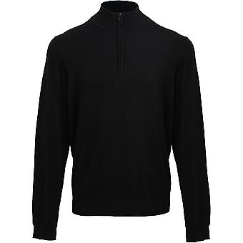 Premier Mens Quarter Zip Soft Cotton Acrylic Knitted Corporate Sweater