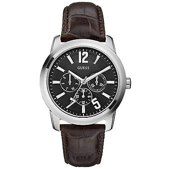 Guess Mens Watch- Black Brown Leather Band W95141G1