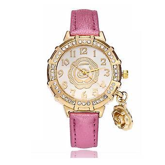 Chic fleur or jaune Watch luxe pierres élégant temps rose