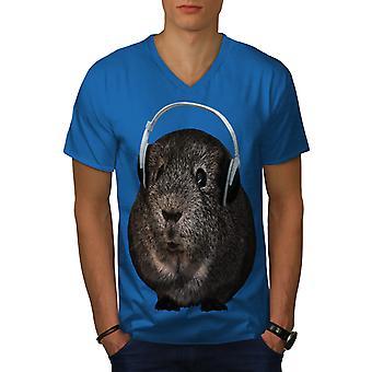 Guinea Pig Beat Funy Men Royal BlueV-Neck T-shirt   Wellcoda