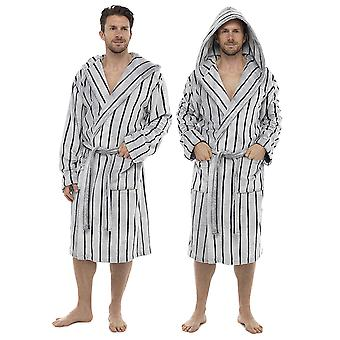 Tom Franks Mens Sheared Stripe Hooded Bathrobe Dressing Gown