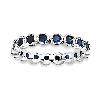 925 Sterling Silver Bezel Polished Patterned Rhodium plated Stackable Expressions Created Sapphire Ring Jewelry Gifts fo