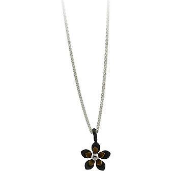 Ti2 Titanium Black zurück fünf Blütenblatt Blume Anhänger - Tan Beige