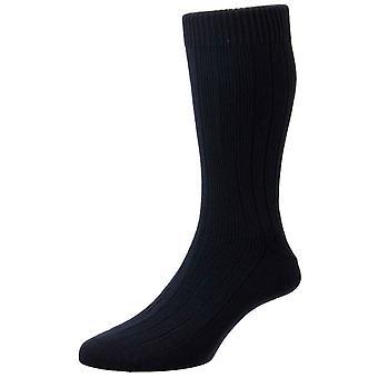 Pantherella Raynor Egyptian Cotton Rib Socks - Navy