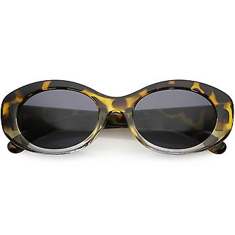 Retro Oval Sunglasses Wide Arms Round Lens 51mm