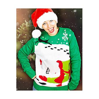 Hombres trajes Navidad feo suéter Sra. Claus y Rudolph