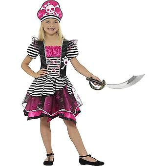 Perfect Pirate Girl Costume, Black & Pink, with Dress & Hat