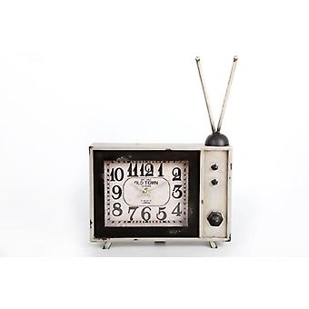 35X25Cm Vintage Tv White Metal Clock Home Decoration
