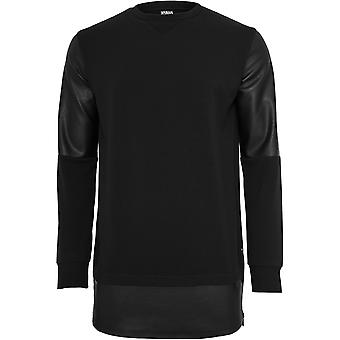 Urban classics men's sweatshirt long zipped leather imitation