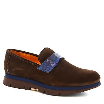 Leonardo Schuhe Man handgefertigte Mokassins Schuhe in dunkel braun Wildleder Leder