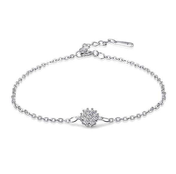 925 Sterling Silver Chain Snowflake Claw Solitaire Bracelet