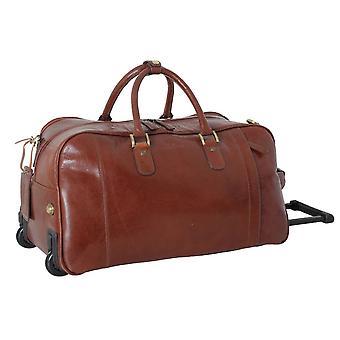 Ashwood Leather Chelsea Veg Tan Albert Wheeled Travel Holdall - Chestnut