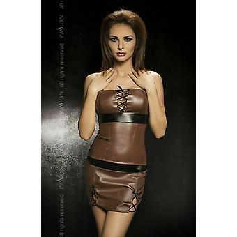 العاطفة الملابس الداخلية أديلين براون فو الجلود الأعلى وتنورة مع النطاقات