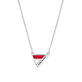 Detroit Redwings Engraved Sterling Silver Diamond Geometric Necklace In Red and White