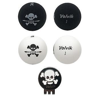 Volvik Vivid Skull Edition Golfbälle (2 Schwarz, 2 Weiß) & Hut Clip