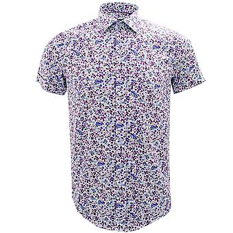 Guide London Blue Lilac Small Flowers Print Pure Cotton Short Sleeve Mens Shirt