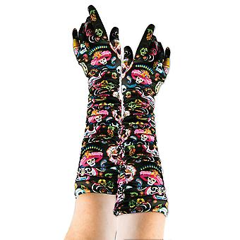 Bristol Novelty Unisex Adults Day Of The Dead Gloves (1 Pair)