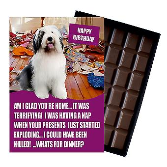 Old English Sheep Funny Birthday Gifts For Dog Lover Boxed Chocolate Greeting Card Present