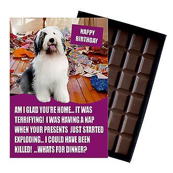 Alte englische Schafe lustige Geburtstagsgeschenke für Hund Liebhaber Boxed Schokolade Grußkarte vorhanden