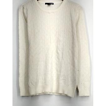 Basic Editions Sweater Long Sleeve Cable Knit Crew Neck Sweater Ivory
