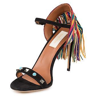 Black Rockstud Rolling Sandals