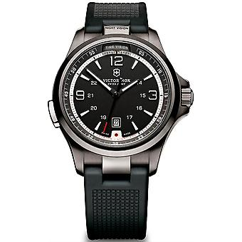 Victorinox Night Vision Quartz Analog Man Watch with V241596 Rubber Bracelet