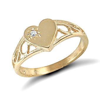 Jewelco London Girls Solid 9ct Yellow Gold Solitaire Love Heart Signet Baby Ring
