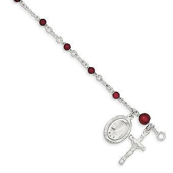 925 Sterling Silver extra humr a Garnet leštěný pro chlapce nebo dívky Rosary náramků