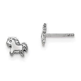 925 Sterling Silver Rh Plated for boys or girls Polished Pony Post Earrings - .7 Grams