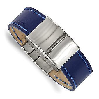 23.44mm Stainless Steel Polished Blue Leather ID Bracelet 8.25 Inch Jewelry Gifts for Women