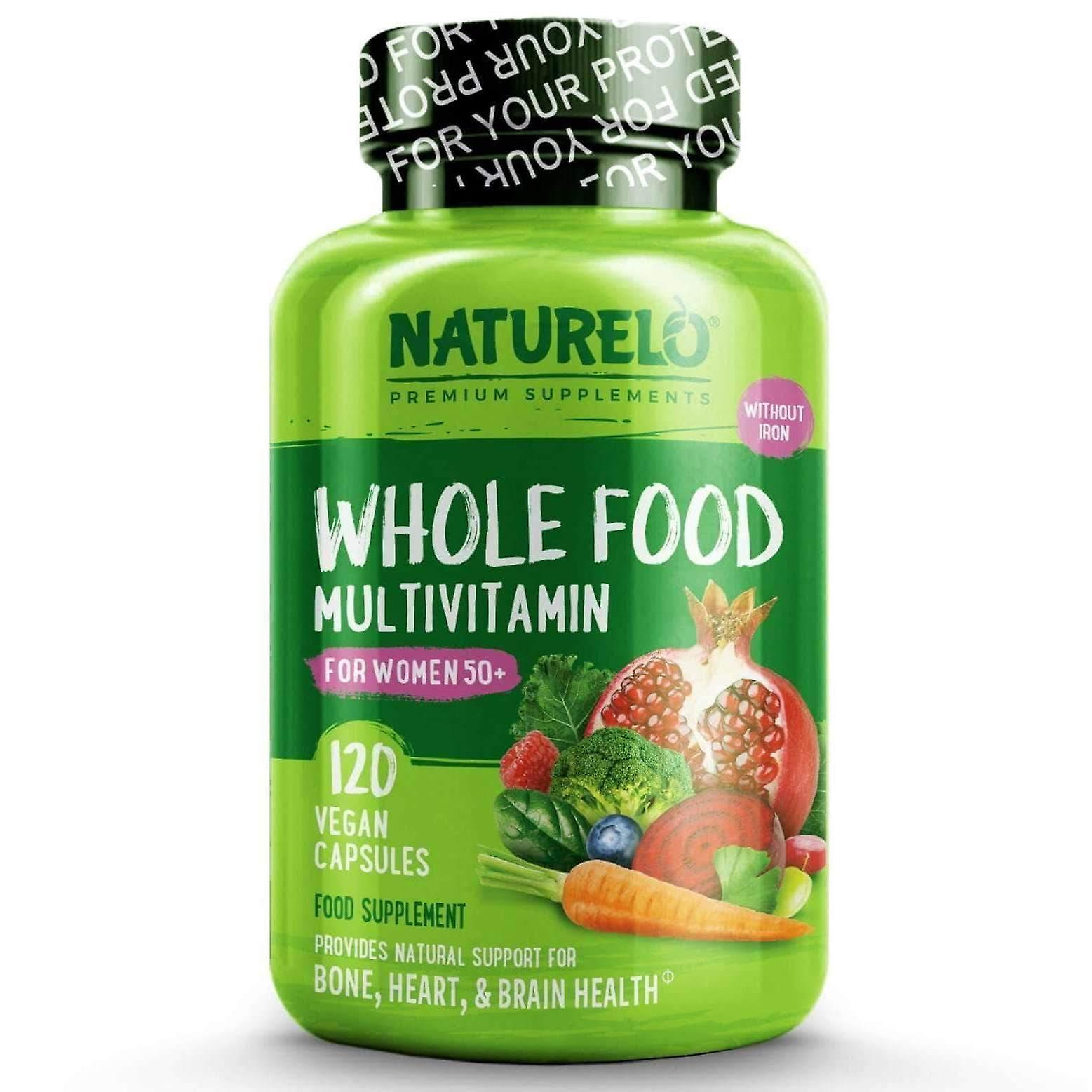 Women's whole food multivitamin 50+ with natural vitamins, fruit & herbal extracts - 120 caps | 1 month supply (vegan)