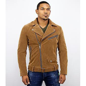 Suede Biker jacket-fake leather jacket-leather jacket-brown