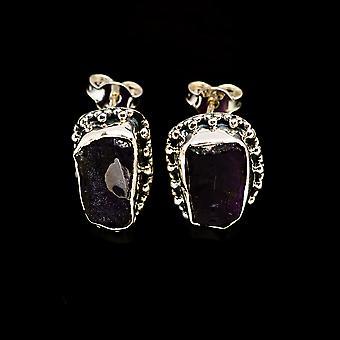 Rough Amethyst 925 Sterling Silver Earrings 3/4