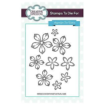 Creative Expressions Pre-Cut Rubber Stamp Sue Wilson UMS661 Shaded Orange Blossoms