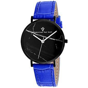 Christian Van Sant Women's Lotus Black Dial Watch - CV0424BL